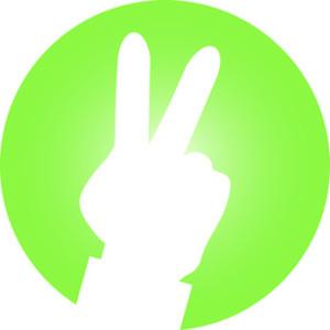 Hand Frieden Zeichen rund